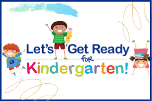 Text Let's get ready for kindergarten with colorful clipart children