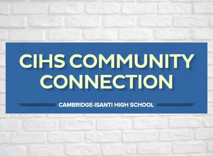 White brick wall, with CIHS COMMUNITY CONNECTION text overlay